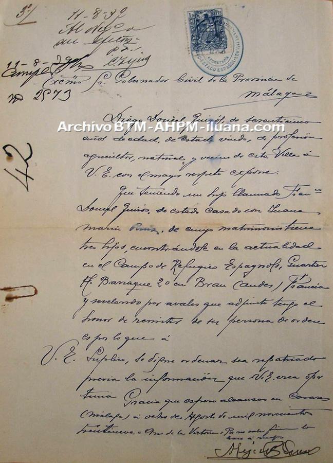 Solicitud de repatriación, 8 de agosto de 1939