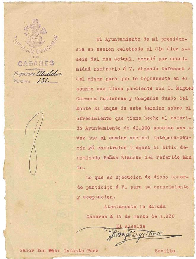 Nombramiento de Blas Infante como abogado en representación del Ayto de Casares (1936. Archivo CEA)