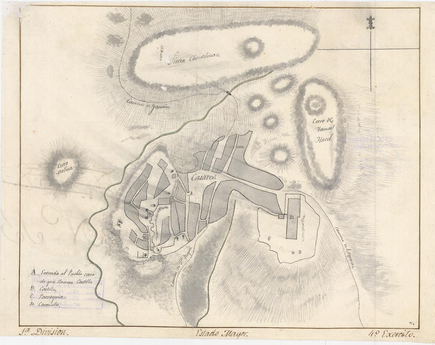 Casares y sus inmediaciones por el Estado Mayor de la 1ª División del 14 Ejército (Año 1813)