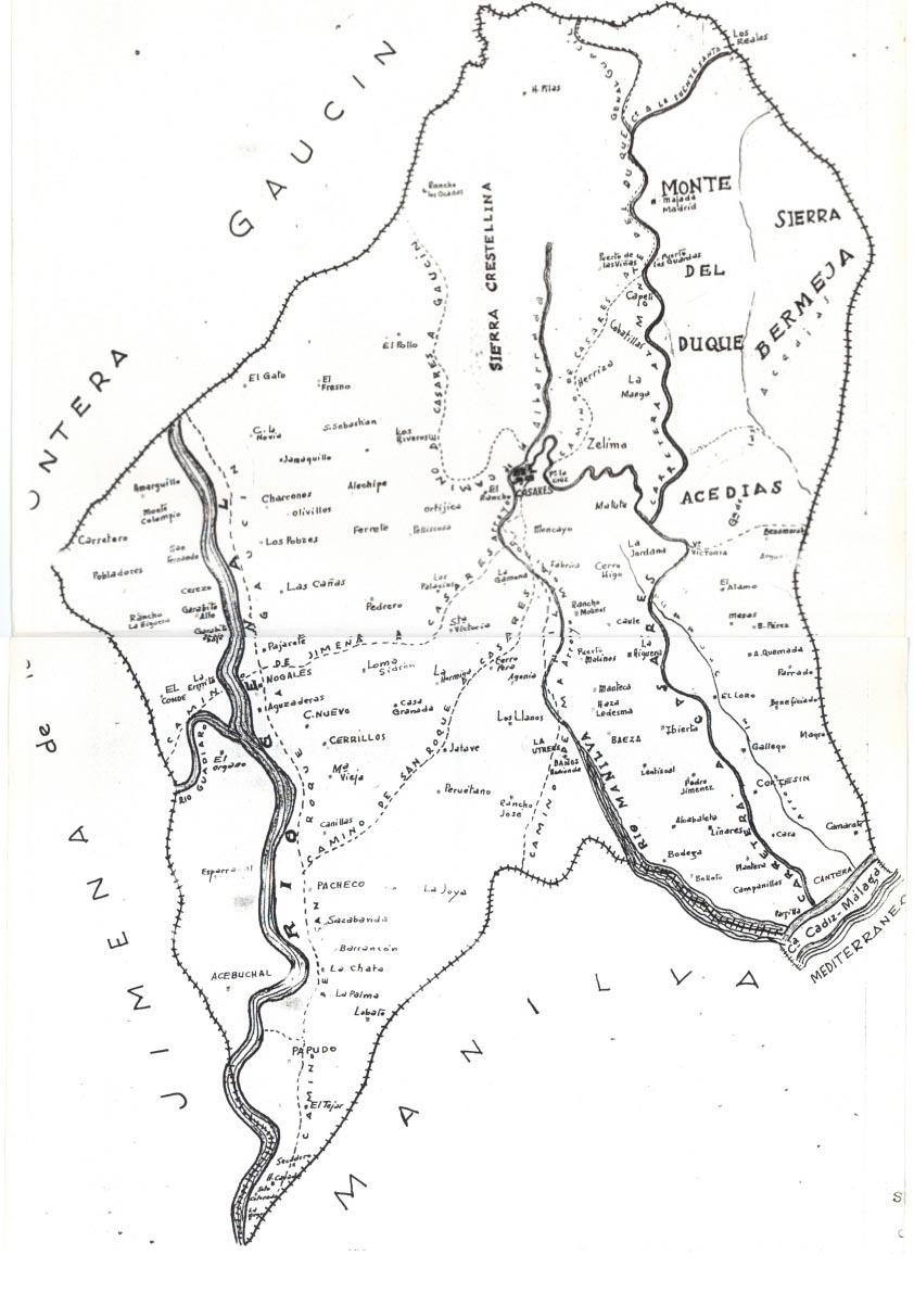 Copia manuscrita de un plano de Casares que figura en su Ayuntamiento. Antigüedad desconocida