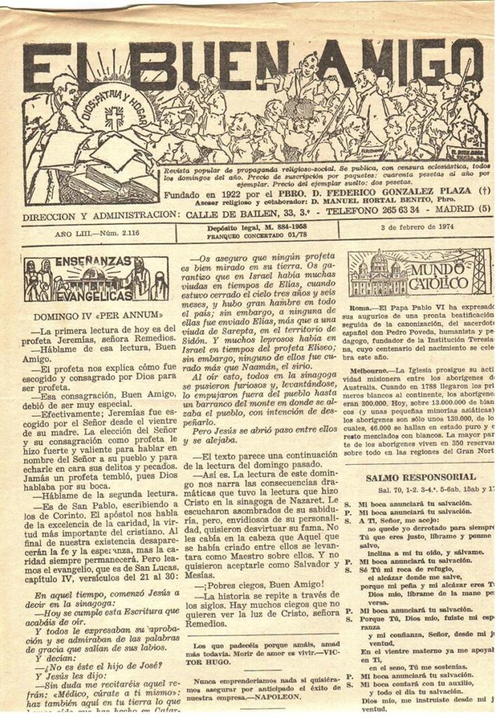 """Periódico """"El buen amigo"""". Año 1974"""